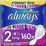 Always Platinum, Serviettes Hygiéniques Long, Taille 2 avec Ailettes, Format Eco x160 (16 packs de 10 unités)