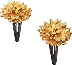 CrayonFlakes Kids Girls Handmade Ethnic Golden Flower Tic Tac/Hair Pin/Hair Clip Pair