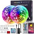 LED Strip 20m, AOGUERBE LED Streifen RGB mit App Steuerung, IR-Fernbedienung, Farbwechsel LED Lichterkette Sync mit Musik, fü