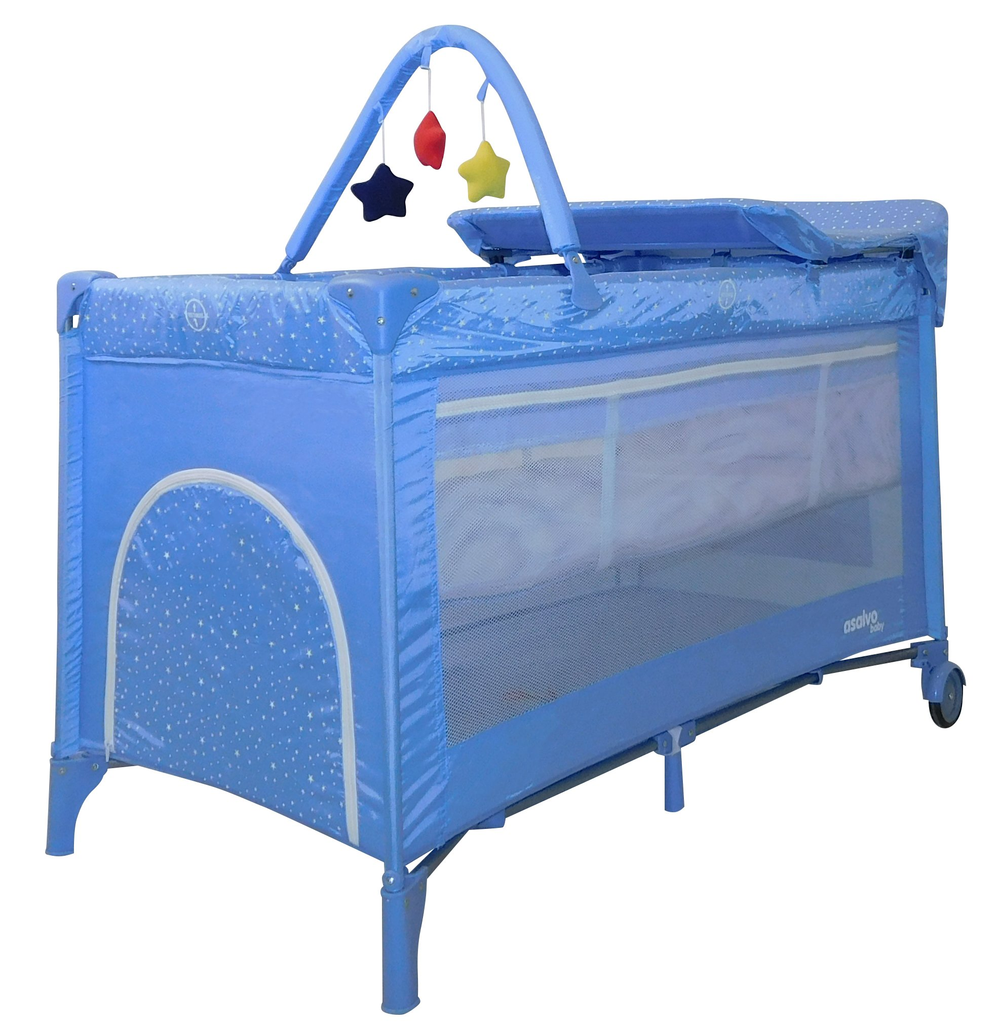ASALVO 16027 Travel Cot Complet Stars Blue, Multi-Colour Asalvo Solid design and Double safety lock. Measures 21.7 cm length by 21.2 cm width by 89.5 cm height. Made in Spain 1