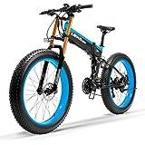 LANKELEISI T750Plus 27 Vitesses 1000W/500W vélo électrique Pliant vélo 26 * 4.0 Fat Bike 5 Pas Frein hydraulique Disque 48V 10Ah Batterie Lithium,Cycles à Assistance électrique