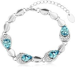 University Trendz 18k Rhodium Plated Antique Blue Charm Bracelet for Girls UTB_013