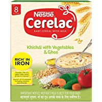 Nestlé CERELAC Fortified Baby Cereal with Milk, Khichdi with Vegetables & Ghee – From 8 Months, 300g BIB Pack