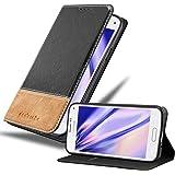 Cadorabo Hülle für Samsung Galaxy S5 Mini / S5 Mini DUOS - Hülle in SCHWARZ BRAUN – Handyhülle mit Standfunktion und…