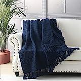 HORIMOTE HOME Dikke Chunky Navy Blauw Gebreide Gooi Deken voor Bank Stoel Sofa Bed, Chic Boho Stijl Geweven Mand Weave Patroo