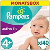 Pampers Active Fit Windeln, Gr.4+, Maxi Plus 9-18kg, Monatsbox, 1er Pack (1 x 140 Stück)