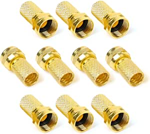 Yizerel F Type Connector Kit for Coaxial Cable Extension//Repair Pack of 12 8 Pcs RG6 Plug Connector and 4 Pcs Female Extended Connectors for Satellite TV Aerial Sky Virgin NTL Coaxial Cable