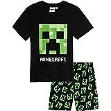 Minecraft Pijama Niño Verano, Pijamas Niños Cortos con Diseño Creeper, Incluye Camiseta y Pantalon Corto Niño, Regalos para N