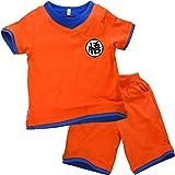Niños Disfraz Camiseta T-Shirt Shorts para Son Goku Traje de Entrenamiento Ropa Sudadera (140 (9-10 años))