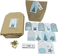 Ladinelle - DIY Adventskalender Set zum Befüllen Set Tüten, Klammern, Weihnachts Etiketten Zahlenanhänger