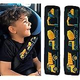 HECKBO® 2x protège-ceintures, voiture, motif voiture de chantier - pour enfants garçon, garçons, ceinture de sécurité, coussi