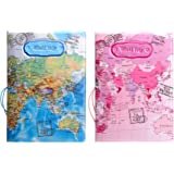Set of 2 Passport Covers Passport Holder Case RFID Blocking Travel Gifts For Men & Women & Kids