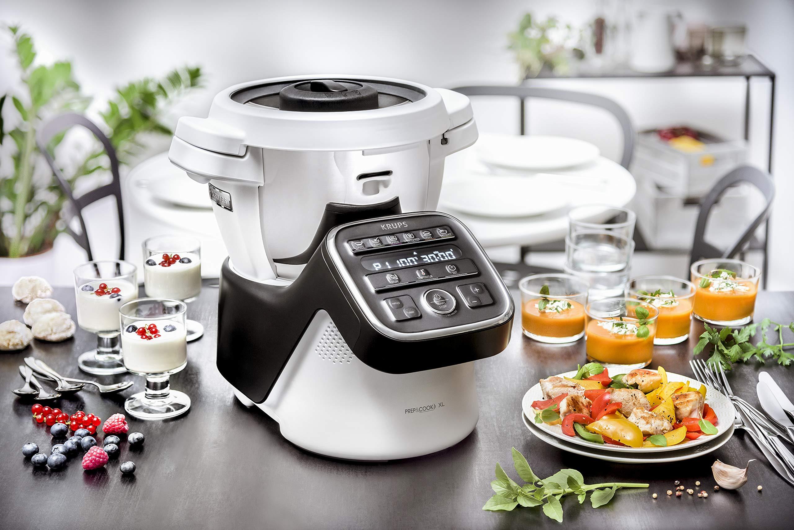 Krups-HP50A8-PrepCook-XL-Multifunktions-Kchenmaschine-1550-Edelstahl-3-liters-WeiSchwarz