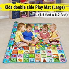 Vruta Waterproof Double Side Baby Play Crawl Floor Mat for Kids Picnic Play School Home (Large Size - 6.5 Feet X 6 Feet) with Zip Bag to Carry