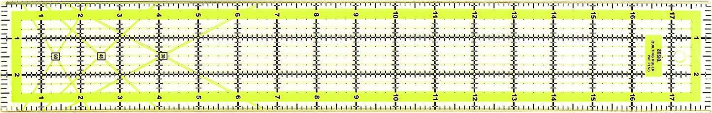 Imperial Design Template Quilting Ruler, Acrylic, Transparent, 3 x 18 inch with Metal Edges