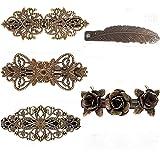 5 pezzi fermagli per capelli francesi vintage, fermagli per capelli rosa, fermagli per capelli in bronzo metallico, accessori
