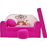 Pro Cosmo H2Enfants Canapé lit avec Pouf/Repose-Pieds/Oreiller, Tissu, Rose, 168x 98x 60cm