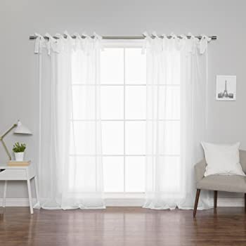 01ca6aca69a Best Home Fashion Sheer Voile Curtains - Tie Top - White - 56