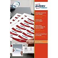 AVERY - Pochette de 200 inserts imprimables pour badges, En carte blanche 200g/m², Format 75 x 27 mm, Impression laser…