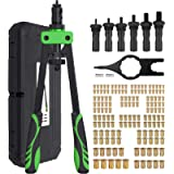 Proster 14' Heavy Duty Hand Rivet Nut Thread Setter Kit with 6pcs Metric Mandrels 150Pcs Rivet Nut Green