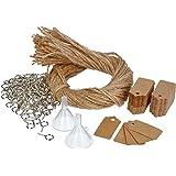 COM-FOUR® 100x accessoiresets voor het vullen, decoreren en ophangen van kruidenpotjes met kurken - voor mini-glazen flessen