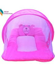 Nagar International New Born Baby Cotton Mosquito Net and Mattress (Pink)