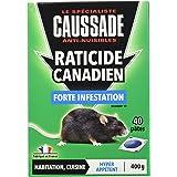CAUSSADE CARPT400 Raticide Canadien Forte Infestation Appât Prêt à l'Emploi Nourriture pour Petit Animal 40 Pieces