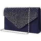 Bolso de Fiesta Noche Mujer Embrague Cartera de Mano de Satén para Mujer Diamantes, Bolsa de Cadena del Monedero para Boda y