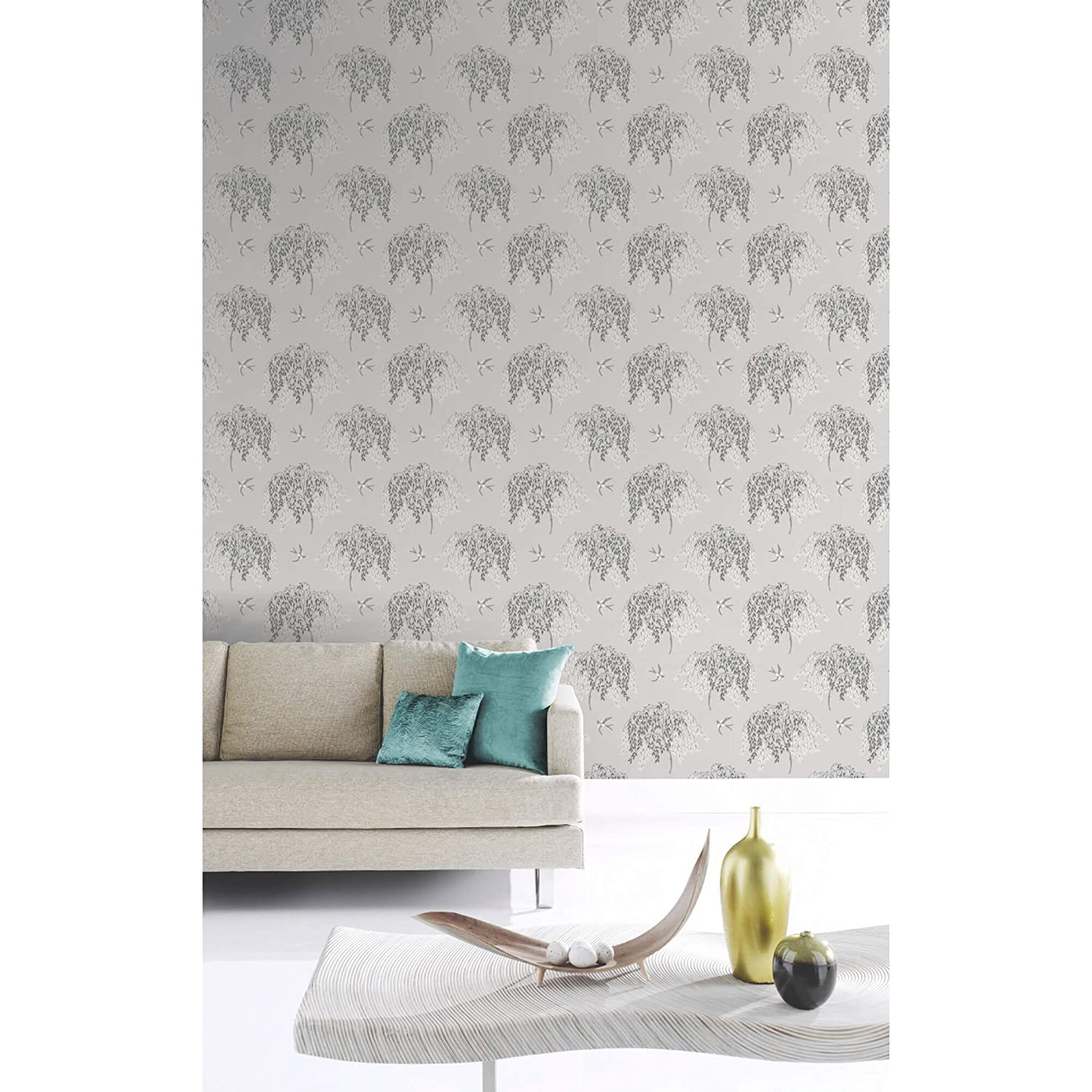Arthouse 664701 Willow Song Wallpaper Duck Egg Heather Amazonco