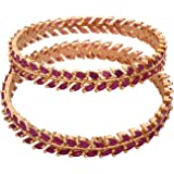 Ratnavali jewels Beautiful CZ/AD Studded Gold Plated Traditional Red Ruby Marquise American Diamond Bangles Set for Women RV2