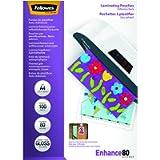 Fellowes 5302202 Pouches Enhance80 con Retro Adesivo, Formato A4, 80 Micron, Confezione da 100 Pezzi