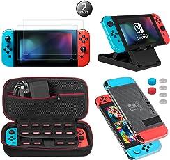 Keten Kit accessori 13 in 1 per Nintendo Switch, include Custodia da trasporto per Nintendo Switch/Custodia Cover Protettiva Trasparente/Supporto regolabile/Pellicola Protettiva HD (confezione da 2)