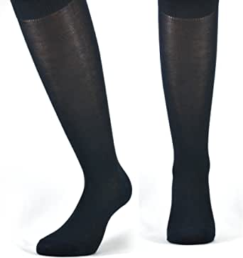 Fontana Calze, 6 paia di calze LUNGHE in puro cotone Filo di Scozia elasticizzate, confortevoli e rinforzate su punta e tallone. Prodotto Italiano.