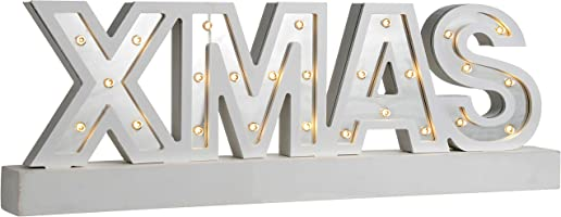 WeRChristmas Pre-Lit Mirror Xmas Sign with Base Christmas Decoration, Wood, 38 cm - Silver