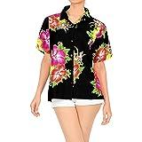LA LEELA Women Hawaiian Shirt Lightweight Button Down Collar Short Sleeves Pink