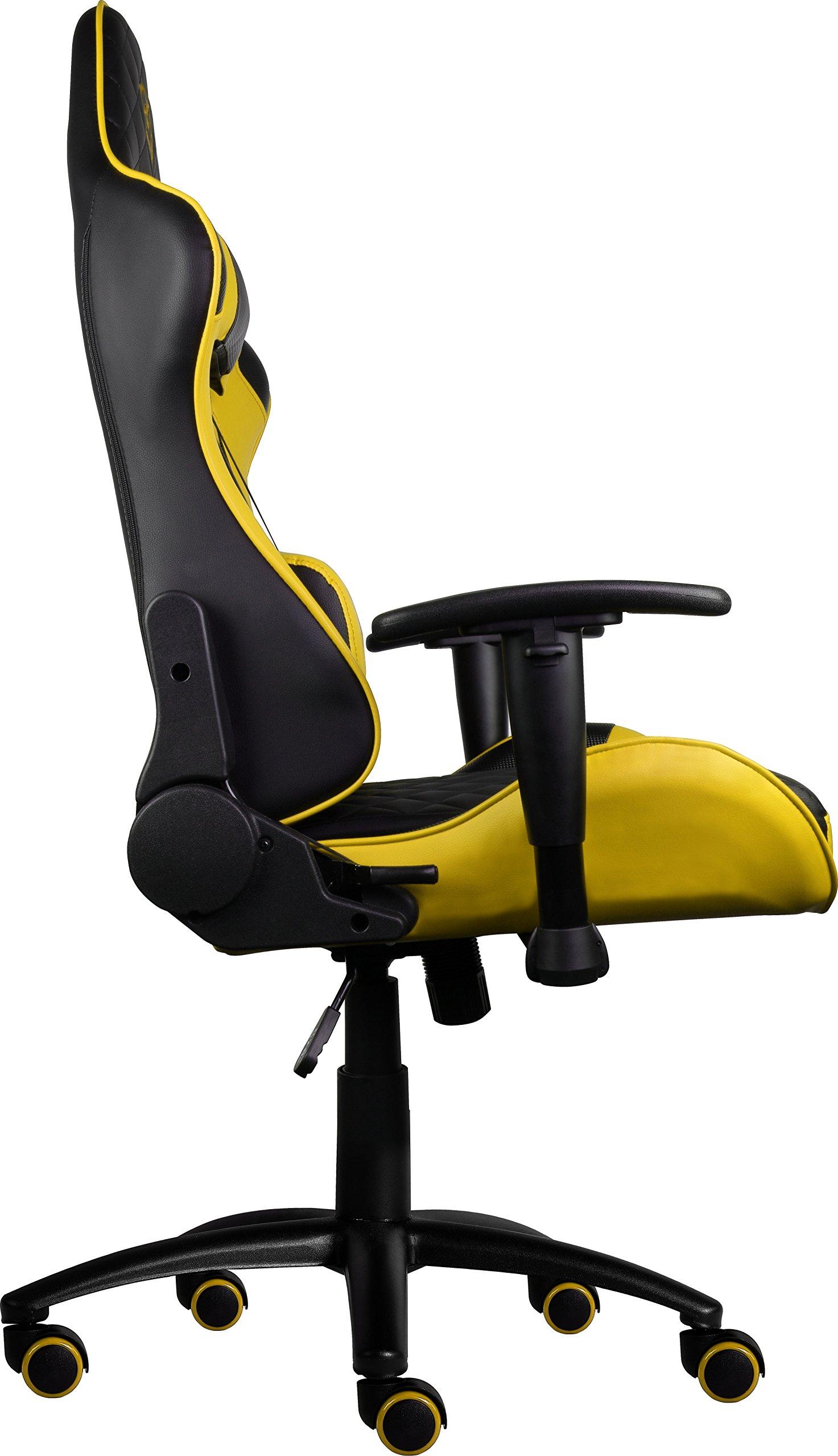 ThunderX3 TGC12BY- Silla gaming profesional- (Estilo Racing, Cuero sintético, Inclinación y altura regulable, Apoyabrazos, Reposacabezas, Cojín lumbar) Color Negro y Amarillo