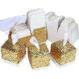 TsunNee, Scatole quadrate di carta con paillettes luminose, per caramelle e bomboniere, per matrimoni e feste Oro