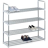 Relaxdays Meuble à chaussures en métal HxlxP: 93 x 90 x 30cm rangement 4 étages pour 16 paires, gris
