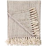 100% coton naturel deux tons chevrons King Size 3 places jeté pour canapé-lit, canapé-lit - 225 x 250 cm