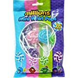 MILLIONS Mini Whirl POPS 10 Lollipops, Bubblegum, Strawberry, Apple, BLKCURRANT, AAST FLVRS