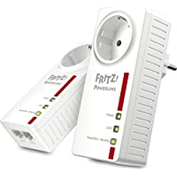 AVM Fritz! Powerline 1220E Set (1,200 MBit/s, 2x Gigabit-LAN je Adapter, ideal für NAS-Anwendungen und HD-Streaming, deutschsprachige Version, weiß)