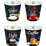 Easy Life set van 4 espresso kopjes, porselein, meerkleurig, 12,5 x 12,5 x 7 cm
