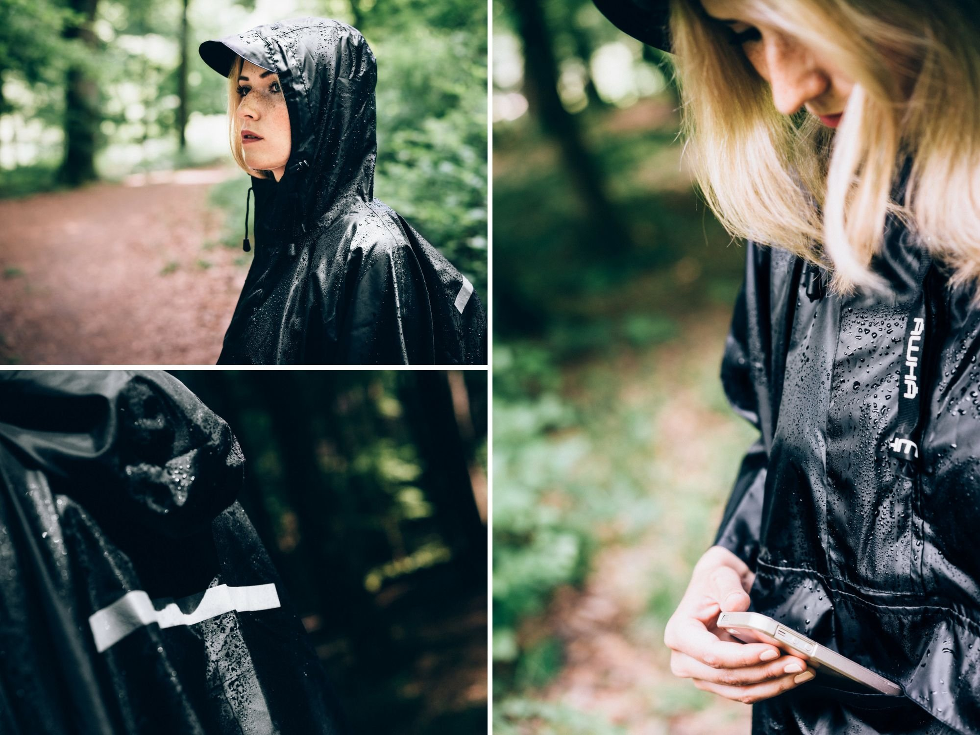 81EA7zC9LLL - AWHA rain poncho black, unisex - the extra long rain cover with a zipper and chest pocket
