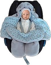 Baby Fußsack für Kinderwagen, Einschlagdecke Maxi cosi, Babyschale - für Übergangszeit Winter aus Fleece/Baumwolle SWADDYL Blau