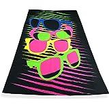 Tex Family Drap de plage avec motif photo en tissu micro-éponge, grandes dimensions 90x 160cm, motif lunettes de soleil