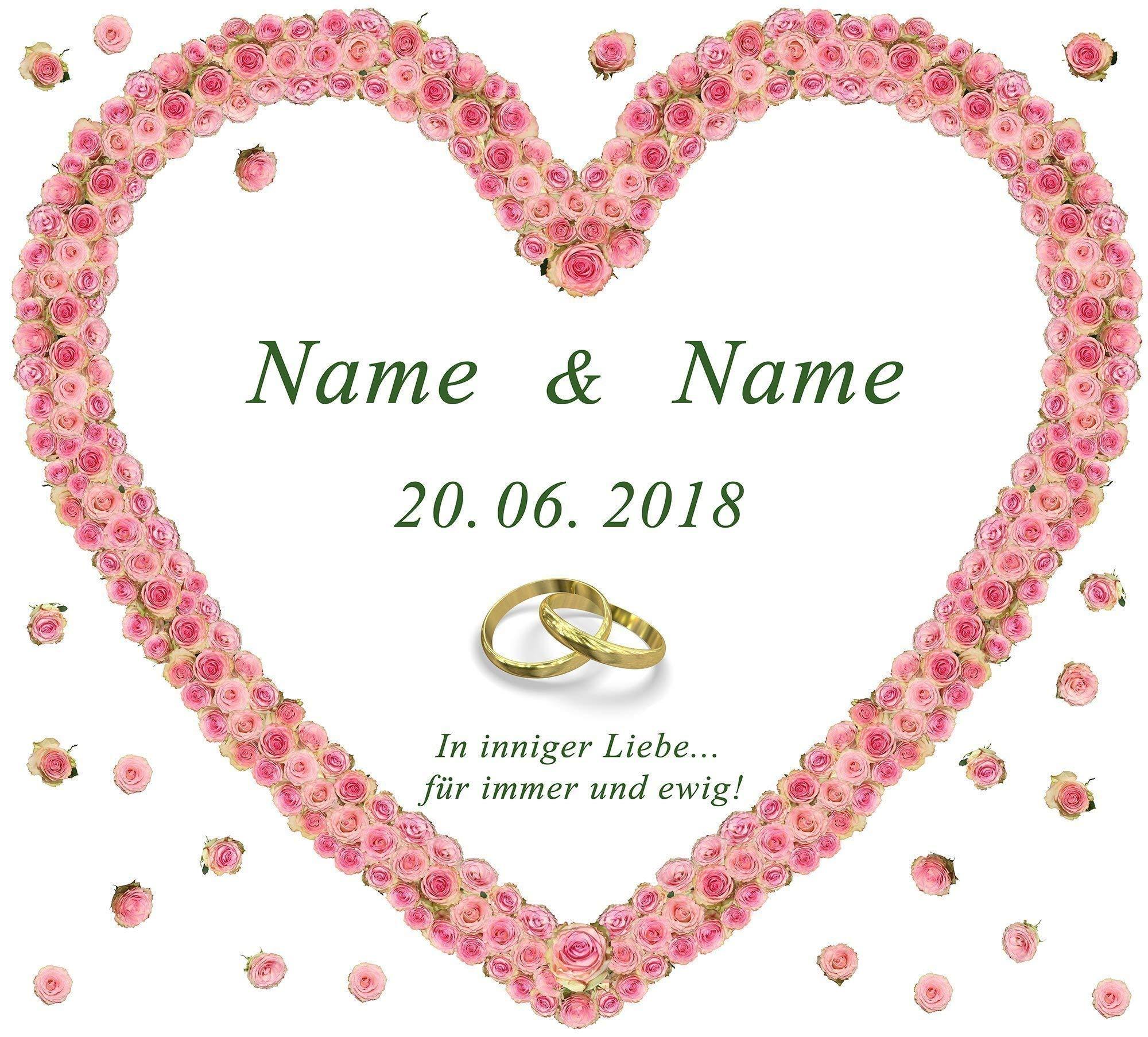 Hochzeitsherz zum Ausschneiden für das Hochzeitsspiel oder zur Hochzeitsdekoration – personalisiert mit Namen, Datum und…
