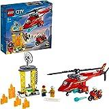 LEGO 60281 City Reddingshelikopter Creatief Speelgoed met Minifiguren van Motorfiets, Brandweerlieden en Piloot