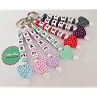 🔝 Schlüsselanhänger mit Namen Kinder Gravur Kindergartentasche Schultasche Rucksack Herz Schlüsselring mit Name | Mädchen viele Farben Namenskette