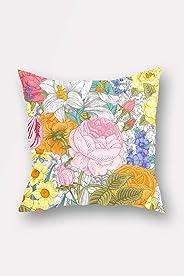 Bonamaison Double Side Printed Decorative Throw Pillow Cover (No Filling Inside), Multi-Colour, 45 x 45 cm, BNMYST2089