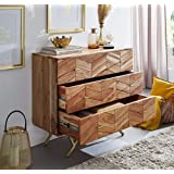 INMARWAR Wooden Chest of Drawer for Bed Room   Dresser for Clothes with 3 Drawers Stoarge   Acacia Wood & Iron, Natural Acaci